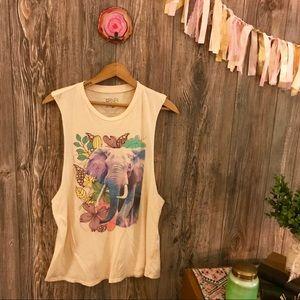 {corner shop} boho elephant & flowers muscle tee l